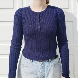 Forever 21 Blue Ribbed Sweater with Buttons